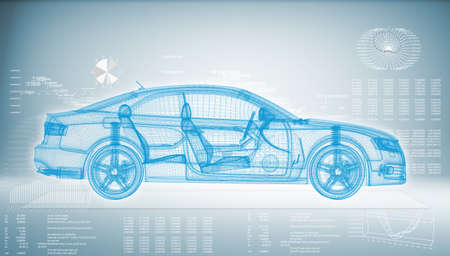 render: Hi-tech car on a blue background  The concept of future technologies Stock Photo