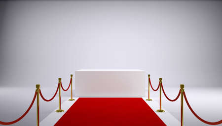 The red carpet and white box  Gray background  3d rendering photo