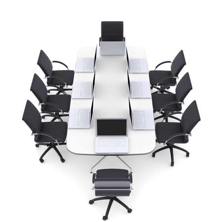 Laptops on the office round table and chairs  Isolated render on a white background Stock Photo - 22943464