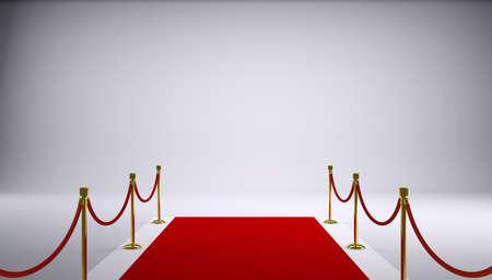 レッド カーペットの灰色の背景の 3 d レンダリング 写真素材