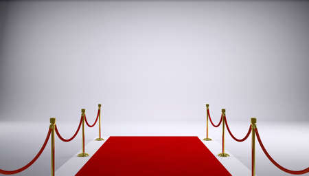 The red carpet  Gray background  3d rendering Stockfoto