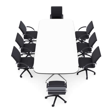 Office chairs and round table  Isolated render on a white background Stock Photo - 22943489