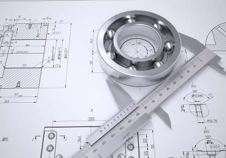 Caliper and bearing in the drawing  Isolated render on a blue background photo