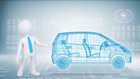 People and hi-tech car on a blue background  The concept of future technologies knowledge based photo