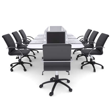 Laptops on the office round table and chairs  Isolated render on a white background photo