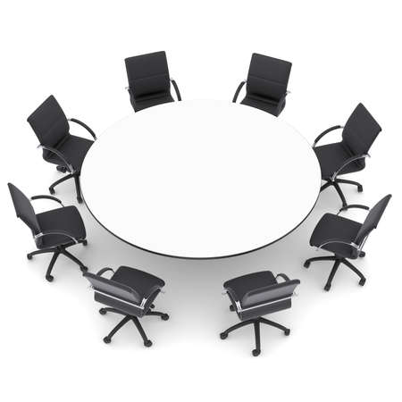 사무실 용 의자와 격리 된 라운드 테이블은 흰색 배경에 렌더링