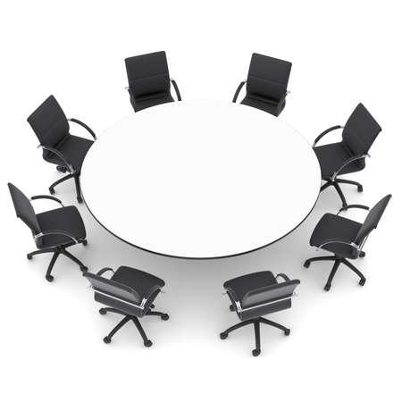 Bürostühle und runden Tisch Isolierte render auf weißem Hintergrund Standard-Bild - 22963882
