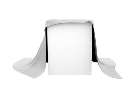 arcane: Box covered with a white cloth  Isolated render on a white background
