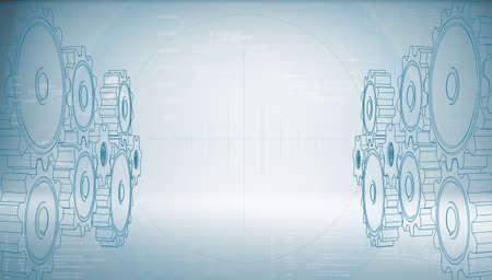 파란색 배경에 하이테크 기어 미래 기술의 개념