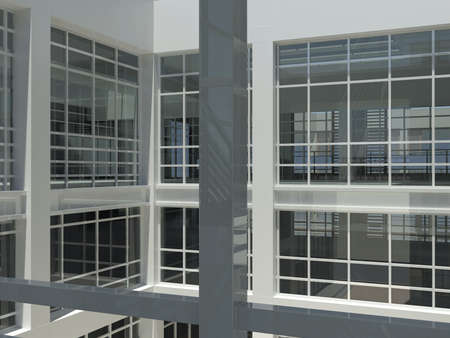 Architecture  staircase and windows  3d render  Interior photo