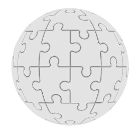Sphere consisting of puzzles  Isolated render on a white background photo