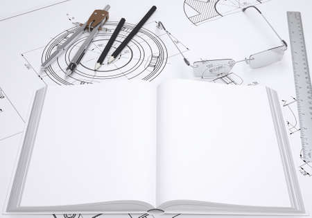 rebuild: Book, glasses, ruler, compass and pencil lie on the drawing  3d render
