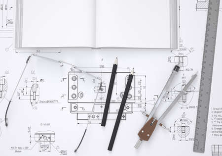 Book, glasses, ruler, compass and pencil lie on the drawing  3d render photo