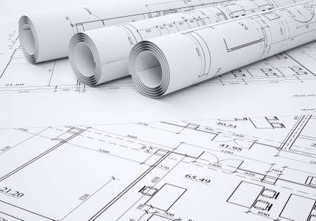 建築図面のフラット、圧延の 3 d レンダリング