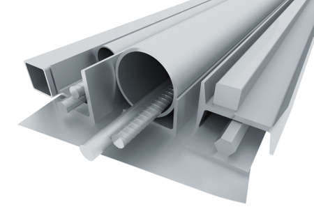 Rolled metal pipes, angles, channels, fixtures and sheet  3d render photo