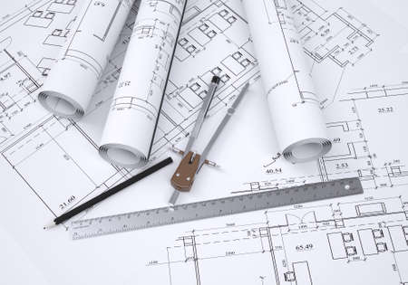 Compass, pencil and ruler lie on the drawing  3d render Stockfoto