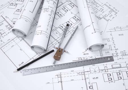 Kompass, Bleistift und Lineal liegen auf der Zeichnung 3d render Standard-Bild - 23150388