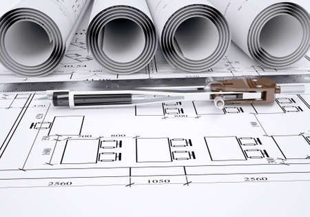 Compass and ruler lie on the drawing  3d render photo