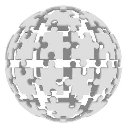 Sphere consisting of puzzles  3d render  photo