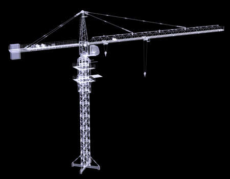 X-ray tower crane  3d rendering on black background photo