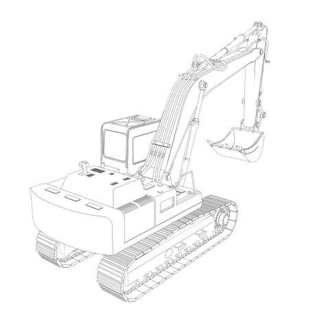 掘削機ワイヤー フレーム 3 d レンダリング、白い背景で隔離