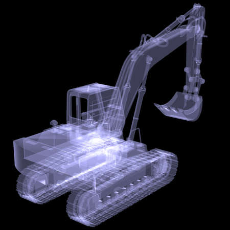 Excavator  X-ray  3d render isolated on a black background photo