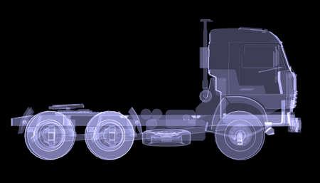 大きなトラックの x 線分離黒の背景上で 3 d のレンダリング