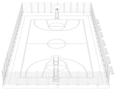Basketball court  Wire frame  3d render isolated on a black background photo