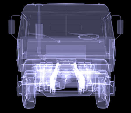 Big truck  X-ray  Isolated 3d render on black background photo