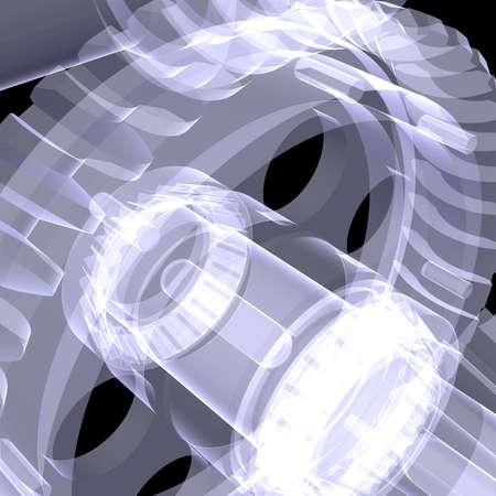 shafts: Wei�e Wellen, Zahnr�der und Lager X-ray machen auf schwarzem Hintergrund