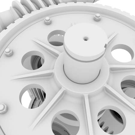 White shafts, gears and bearings  3d render on white background photo