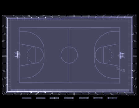 Basketball court  X-ray  3d render isolated on a black background photo