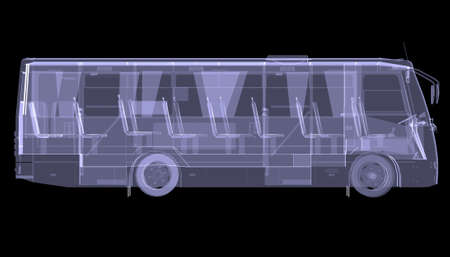 Big bus  X-ray  Isolated 3d render on black background