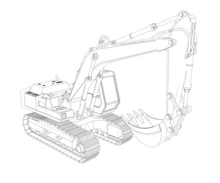 Excavator  Wire frame  3d render isolated on a white background photo