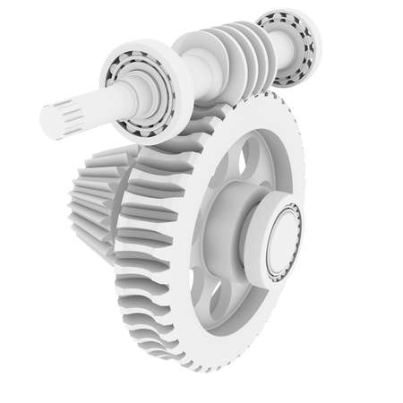 White shafts, gears and bearings  3d render isolated on white background photo