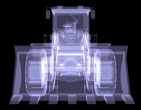 Bulldozer  X-ray  3d render isolated on a black background photo