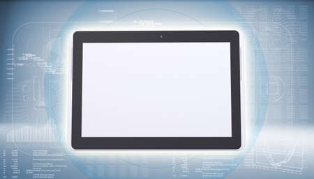 Tablet PC on high-tech blue background  The concept of future technology photo