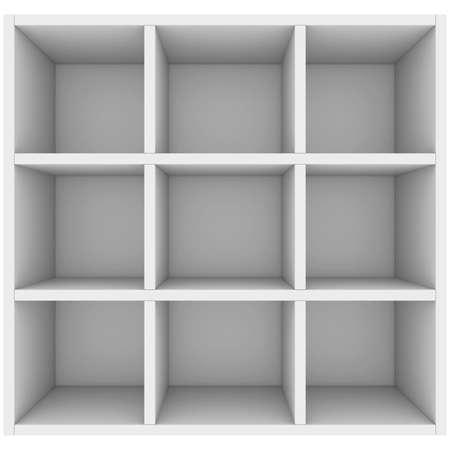 White shelves  3d render isolated on white background