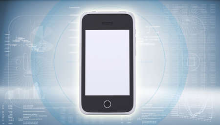Smartphone on high-tech blue background  The concept of future technology photo