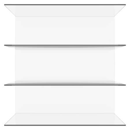Glass shelves  3d render isolated on white background photo