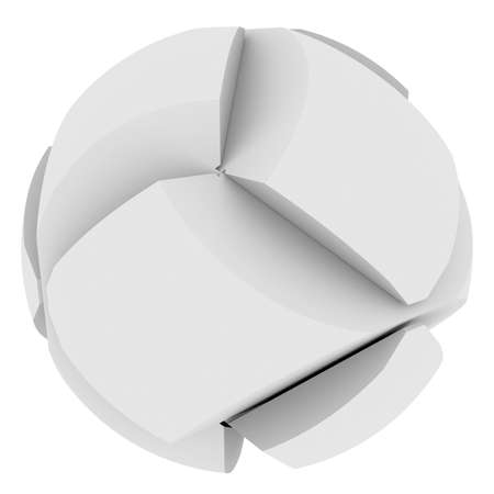 conundrum: Abstract sphere consisting of puzzles  Isolated render on a white background Stock Photo
