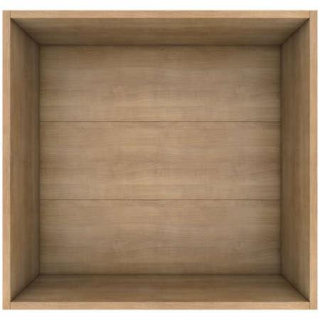 Houten doos 3d render op een witte achtergrond