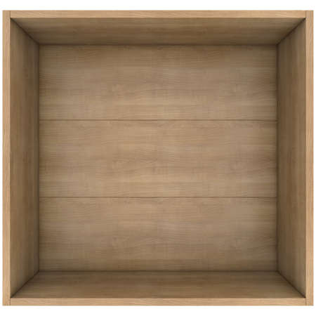 Wooden box  3d render isolated on white background
