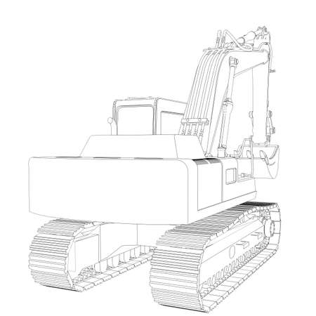 Excavator  Wire frame  3d render isolated on a white  photo
