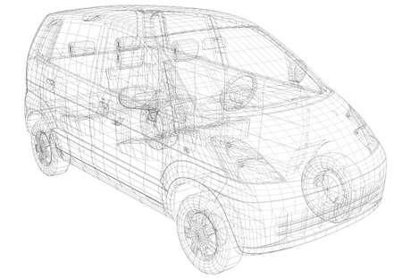 Draadmodel auto Geïsoleerde render op een witte achtergrond Stockfoto