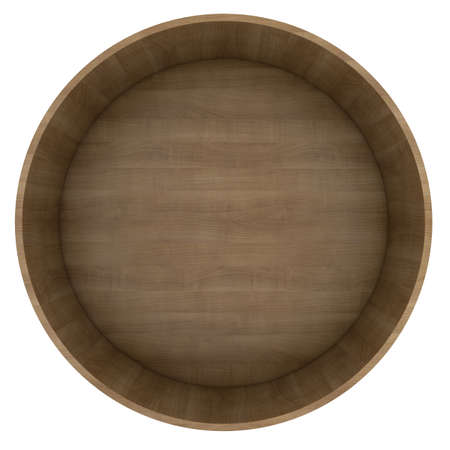 Round wooden shelf  Isolated render on a white background photo