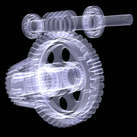 shafts: White shafts, gears and bearings  X-ray render isolated on black  Stock Photo