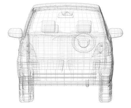 Wire frame car  Isolated render on a white  photo