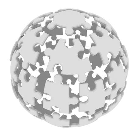 Sphere consisting of puzzles  3d render isolated on white  photo