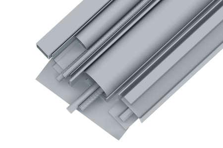 圧延金属パイプ、アングル、チャンネル、据え付け品、シート 3 d レンダリング 写真素材 - 23372315